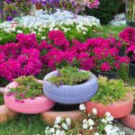 Клумбы из шин: создание цветников